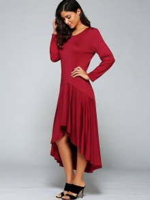 High Low Long Sleeve Dress - WINE RED M