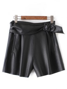 Buy PU Leather Self Tie Shorts - BLACK S