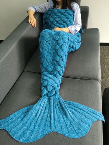 Fish Scales Design Mermaid Blanket - Lake Blue