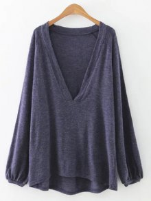 Plunging Neck Lantern Sleeve Tee - Blue Gray S