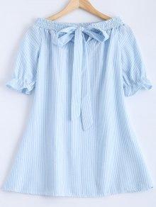 Bowknot Off Shoulder Striped Dress - Light Blue