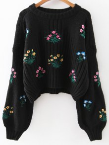 Tiny Floral Embroidered Sweater - Black