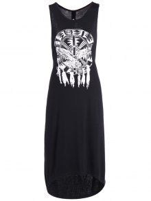 Printed Cutout High Low Hem Tank Dress