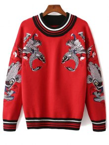 Fish Embroidered Sweater