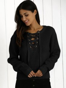 Ribbed Lace Up Cropped Jumper - BLACK ONE SIZE