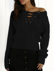 Ribbed Lace Up Cropped Jumper