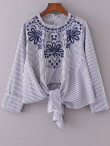 Striped Embroidered Blouse - Stripe