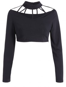 Long Sleeve Choker Crop Top