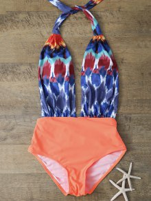 Low Cut Printed One Piece Swimwear