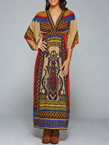 Empire Waist Printed Maxi Kaftan Dress