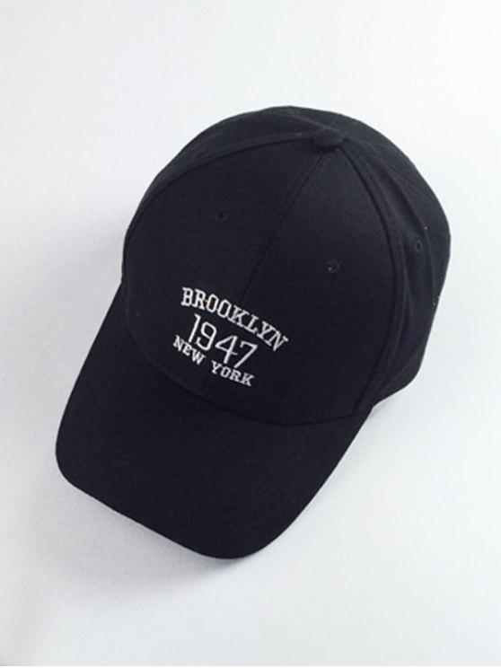 Los números y las letras de bordado Sombrero de béisbol - Negro