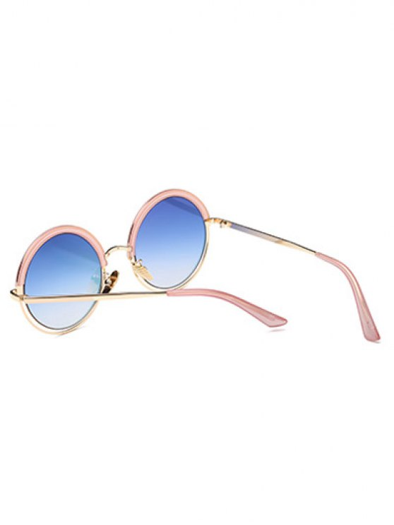 Hollow Out Mirrored Round Sunglasses - PINK  Mobile