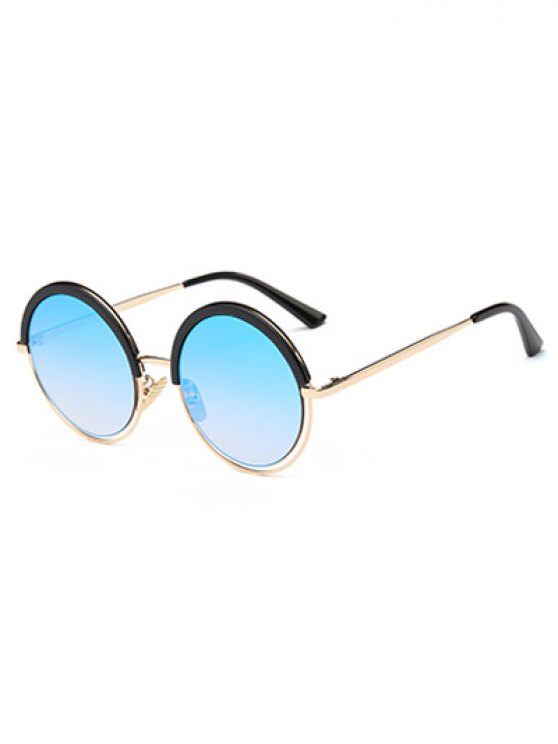 Hollow Out Mirrored Round Sunglasses - LIGHT BLUE  Mobile