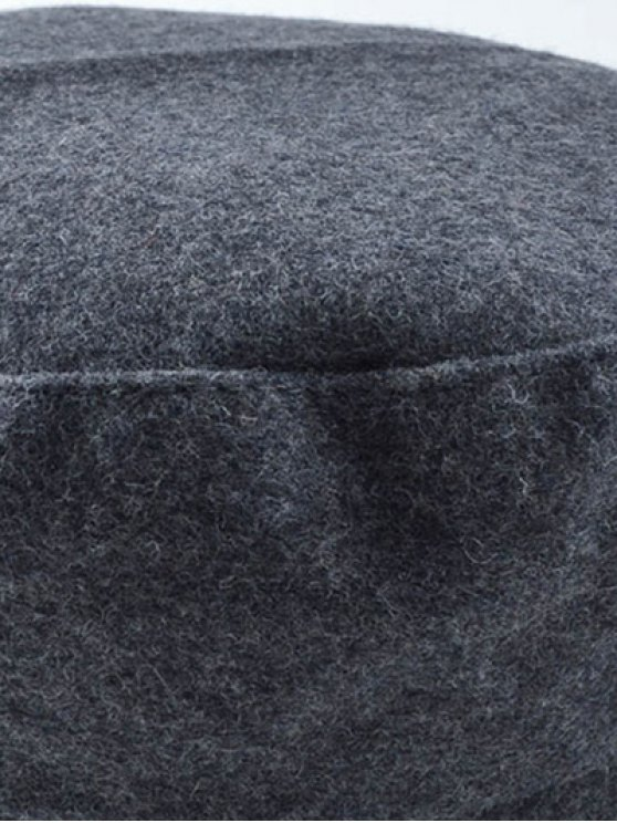 Rivet PU Belt Felt Newsboy Hat - BLACK  Mobile