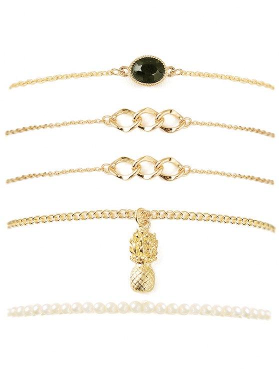 chic Pineapple Faux Gem Chain Bracelet Set - GOLDEN