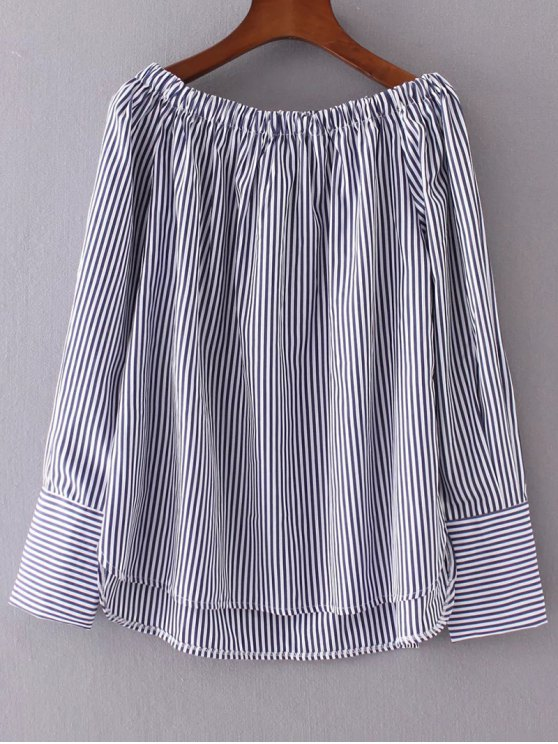 Off The Shoulder Stripes Peasant Blouse - STRIPE S Mobile