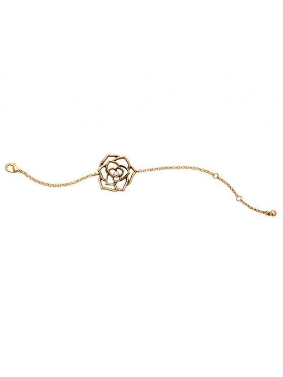 Vintage Rhinestone Floral Openwork Bracelet - GOLDEN  Mobile