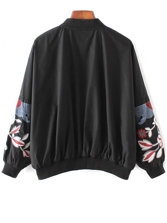 Embroidered Souvenir Jacket - BLACK S Mobile