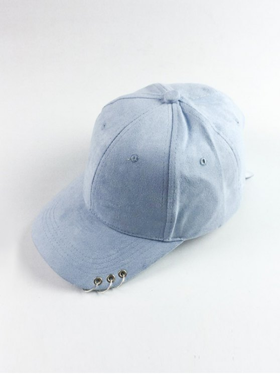 lady Circle Hoop Faux Suede Baseball Hat - LIGHT BLUE