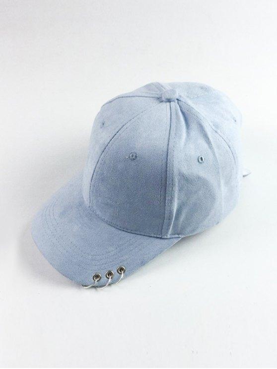 Cercle Hoop Faux Suede Baseball Hat - Bleu clair