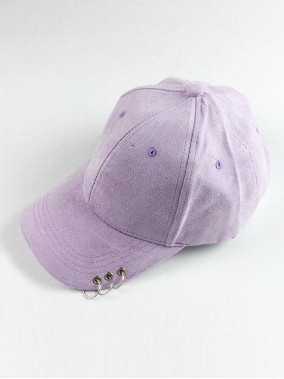 best Circle Hoop Faux Suede Baseball Hat - LIGHT PURPLE