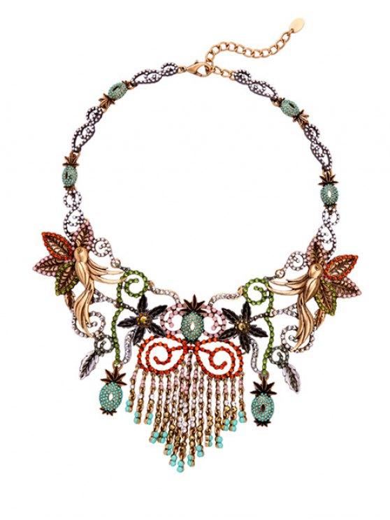Las borlas del estilo de la vendimia del collar floral Gargantilla - Colormix