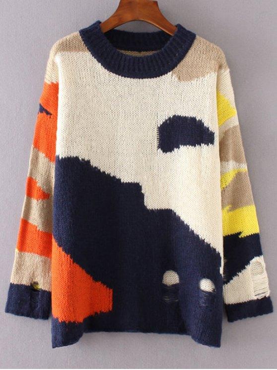 Bloque del color del suéter rasgado - Colormix Única Talla