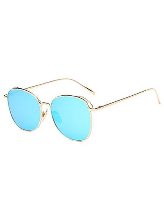 women's Irregular Square Metal Mirrored Sunglasses - ICE BLUE