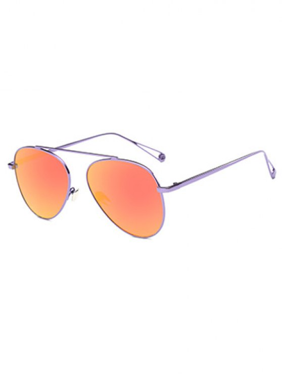 Ligera metal con espejo gafas de sol de piloto - Morado Claro