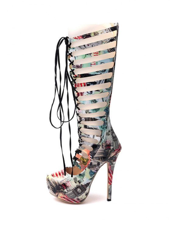 Hollow Out Building Print Tie Up Boots - COLORMIX 40 Mobile