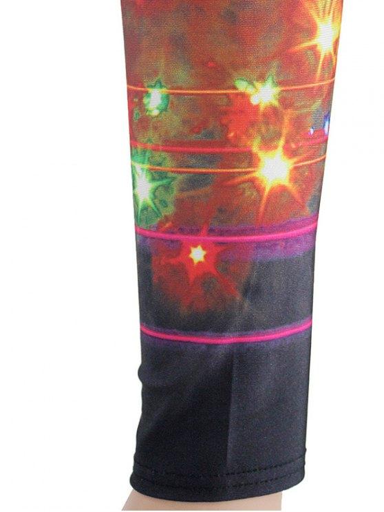 Printed Colorful Leggings - BLACK M Mobile