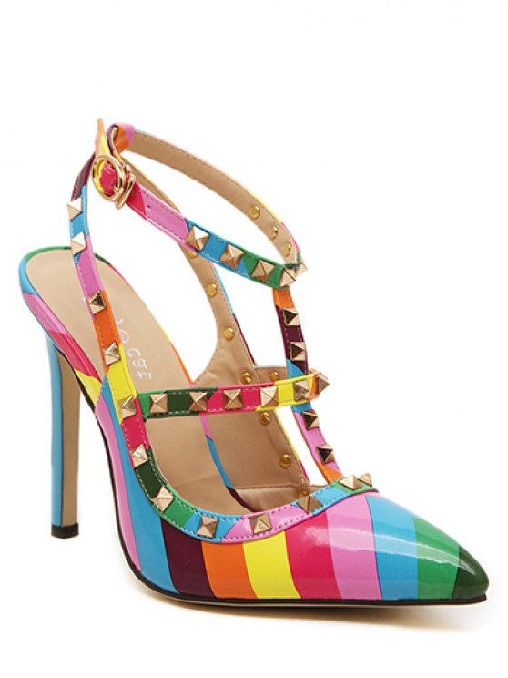 Striped Pattern Colour Block Rivets Pumps - COLORMIX 40 Mobile