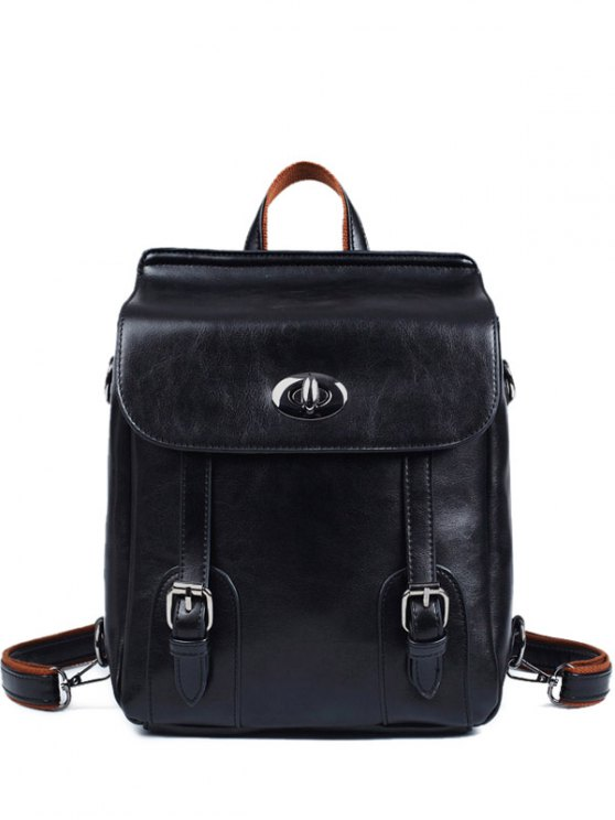 Strap Buckles PU Leather Backpack - BLACK  Mobile