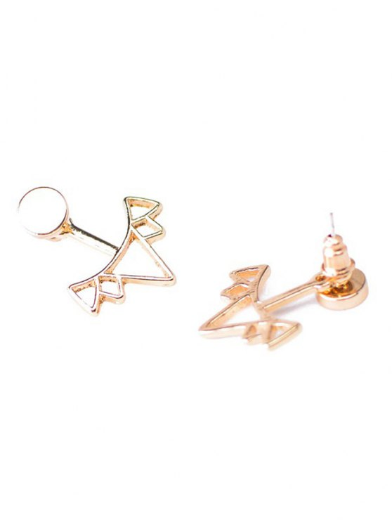Round Triangle Alloy Ear Jackets - GOLDEN  Mobile