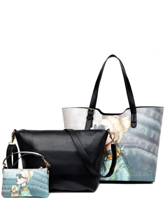 رسمت مشبك حزام الكتف حقيبة - أسود