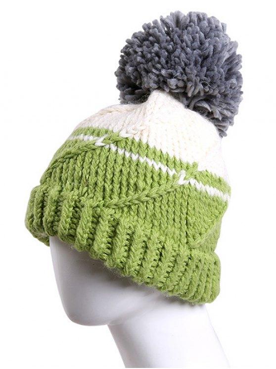 Big Ball Stripy Braid Knitted Beanie - LIGHT GREEN  Mobile