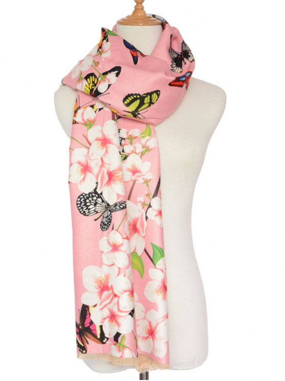 shops Butterfly Peach Flower Print Shawl Scarf - PINK
