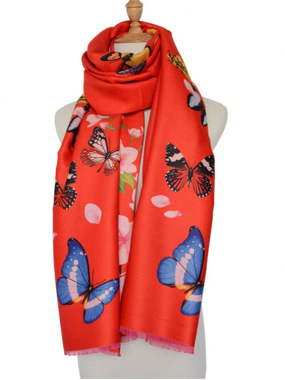 Butterfly Peach Flower Print Shawl Scarf - Rojo