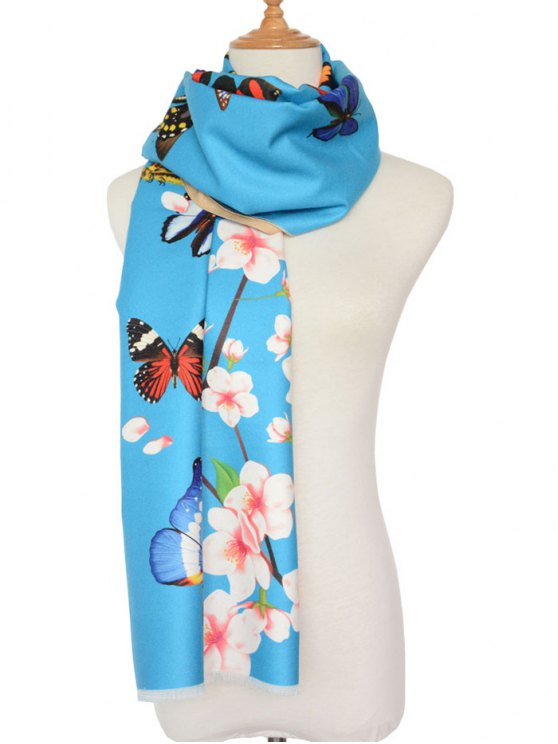 Butterfly Peach Flower Print Shawl Scarf -   Mobile