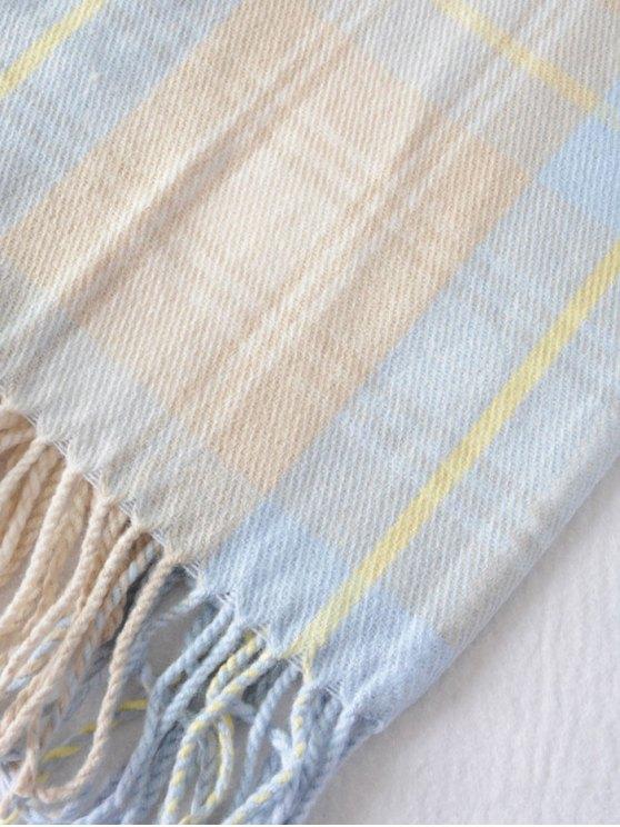 Small Plaid Pattern Tassel Shawl Scarf - AZURE  Mobile