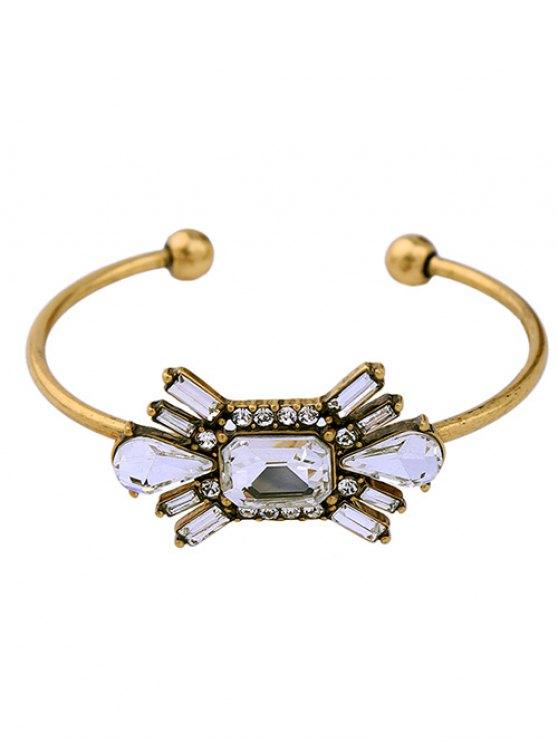 Brazalete floral diamantes de imitación artificial de la piedra preciosa - Dorado