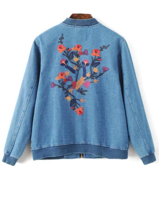 Embroidered Zipped Denim Jacket - DENIM BLUE L Mobile