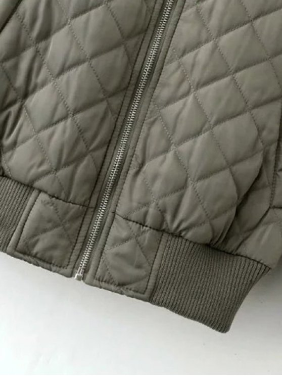Raglan Sleeve Argyle Padded Bomber Jacket - PINK L Mobile