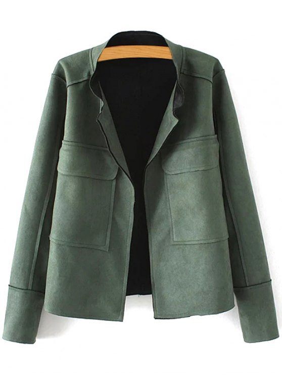 new Plus Size Suede Jacket - GREEN 2XL