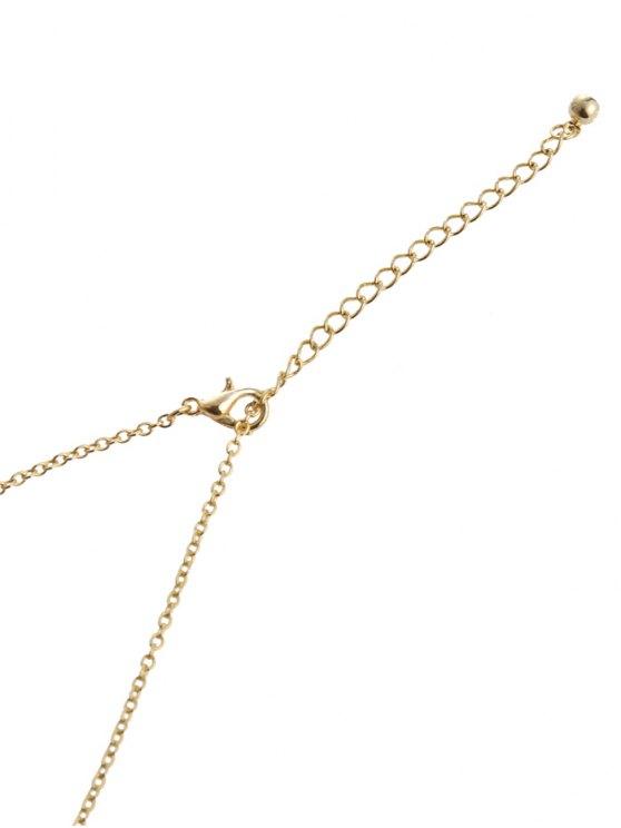 Vintage Tassel Hollow Out Hand Pendant Necklace - GOLDEN  Mobile