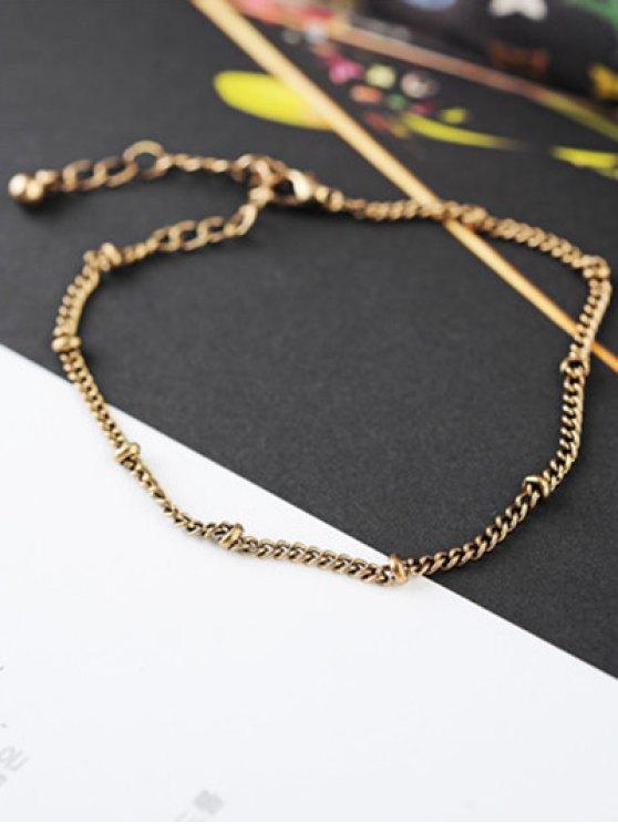 Chain Tassel Engraved Round Bracelet Set - GOLDEN  Mobile