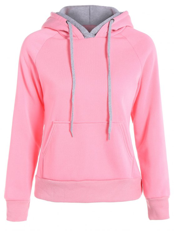 Double Hooded Drawstring Hoodie - PINK S Mobile