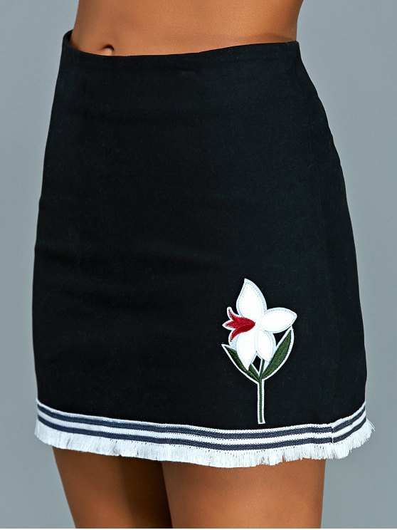 Floral Applique Mini A Line Skirt - BLACK M Mobile