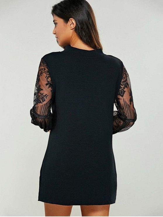 Lace Panel Mock Neck Sweater Dress - BLACK 5XL Mobile