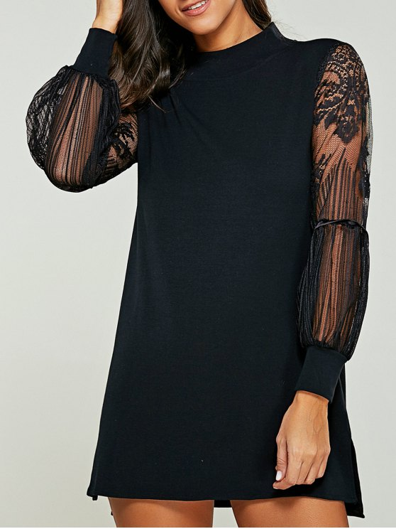 outfits Lace Panel Mock Neck Sweater Dress - BLACK 4XL